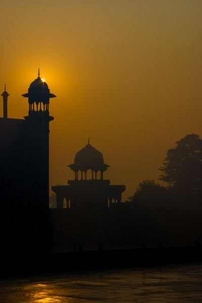 Early morning at the Taj's East gate