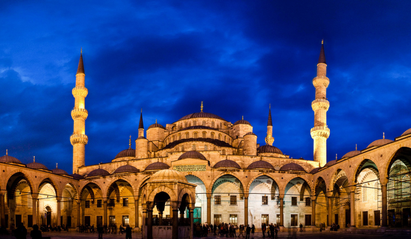 The Blue Mosque Courtyard at Dusk
