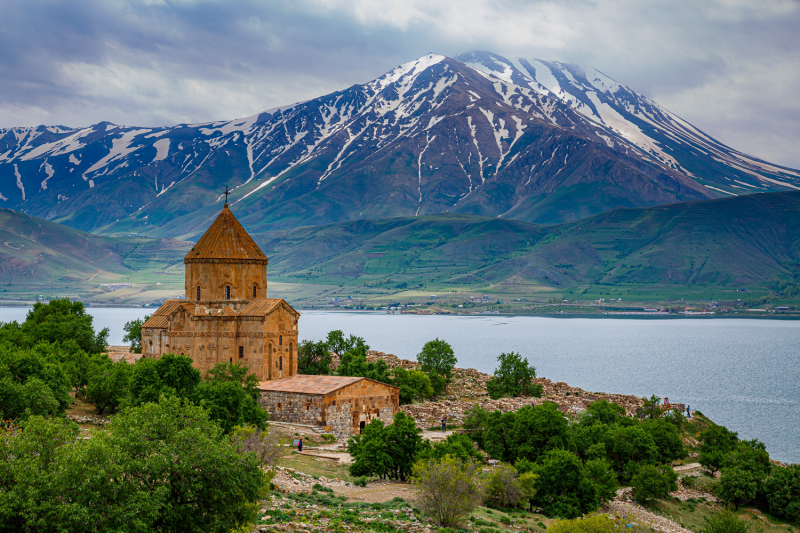 Church, Lake and Mountain